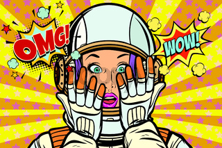 OMG wow pop art woman astronaut