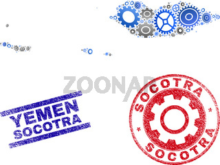 Mechanics Composition Vector Socotra Archipelago Map and Grunge Stamps