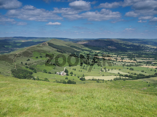 View from Mam Tor over Edale and Hope valleys, Back Tor and Lose Hill, Peak District, UK