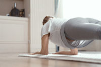Yoga Classes at Home Beautiful Women Over 50 Years.