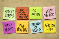healthy lifestyle habits - reminder notes