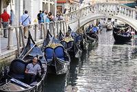 waiting gondoliers, gondolas, canal, Venice, Italy, Europe