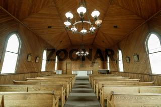 Tiburon, California - May 5, 2019: Interiors of Old St. Hillary's Chapel.
