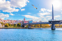 Halic Metro Bridge and Galata Tower on the background, view from the Golden Horn, Istanbul, Turkey