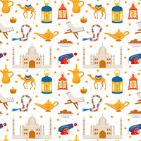 Ramadan kareem seamless pattern with arabic design elements camel, quran, lanterns, rosary, food, mosque. Vector illustration.