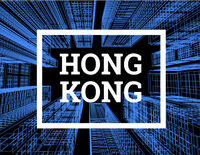 Hong Kong is a city of skyscrapers. Vector illustration in the drawing style on a black. View of the skyscrapers below