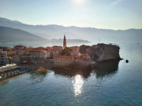 View at sea bay and old town of Budva in Montenegro
