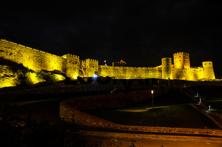 Night view of illuminated Rabati Fortress Castle in Akhaltsikhe town in Southern Georgia