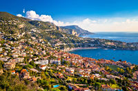Villefranche sur Mer and French riviera coastline aerial view,