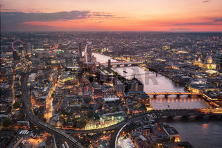 Aerial view of London skyline at sunset, United Kingdom.