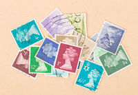 UNITED KINGDOM - CIRCA 1980: Collection of stamps printed in the United Kingdom showing queen Elizabeth, circa 1980