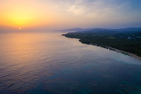 Drone shot of bahia beach at sunrise