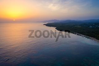 Drone shot of bahia beach at sunrise