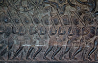 Warriors - bas relief in Angkor Wat