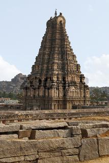 The east facing tower, gopuram, of Virupaksha Temple, Hampi, karnataka. Sacred Center. View from the north-west, Hemakuta Hill.