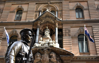 Sydney, Australia - Nov 4, 2018. Sailor statue with the General Post Office in the background which guarding the cenotaph at Martin Place Sydney Australia.