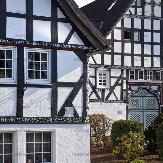 two timber-framed houses, Haus Epe and Haus Hardenacke, Kirchveischede, Lennestadt, Germany, Europe