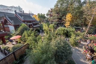 Tea room aerial view in Wenshu buddhist monastery in Chengdu