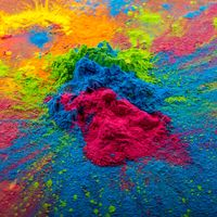 Bright colours on sawed wood for Indian holi festival. Colorful gulal powder colors for Happy Holi with copy space