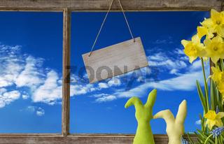 Window, Blue Sky, Copy Space, Easter Bunny