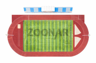 sports stand, runway and football field