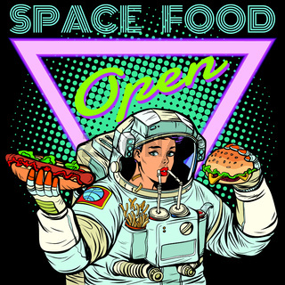 Space food. Woman astronaut eats. Cola, hot dog and Burger.