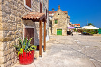 Mediterranean stone village on Krapanj island view