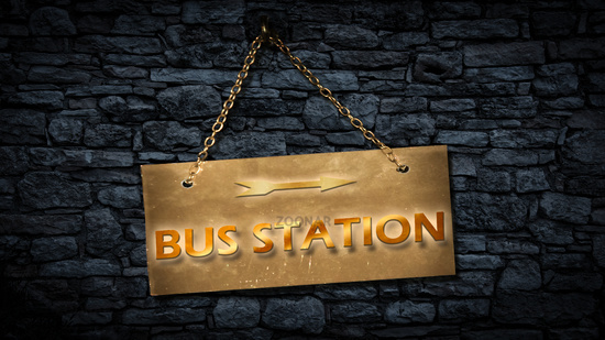 Street Sign to Bus Station