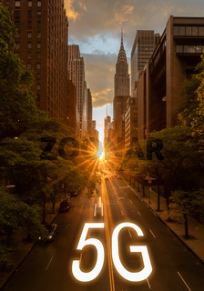 Concept for 5G mobile internet in New York city