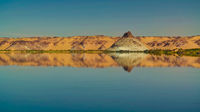 Panoramic view to Teli lake group of Ounianga Serir lakes at the Ennedi, Chad