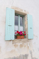 French window with blue blinds