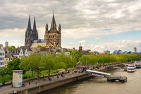 Great Saint Martin Church and Cologne Cathedral at the river Rhine
