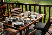 Wooden desk after morning breakfast - remains on plates and coffee cups, butts in ashtray, half empty milk jug, blurred green foliage in background - tropical holiday resort