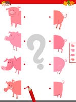 connect halves of pigs educational game