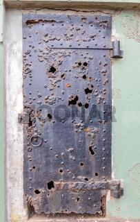 Ruins of an iron door at Battery Mendell, Fort Barry, Marin Headlands, California, USA.