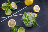 Top view of fresh lemonade with mint in glass