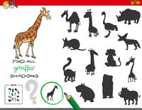 shadows game with giraffe characters