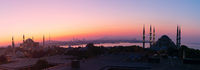 Istanbul sunset panorama, view on the Blue Mosque, Hagia Sophia and the city skyline