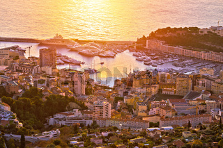 Monte Carlo yachting harbor and colorful waterfront aerial sunrise view