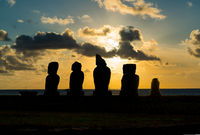 Silhuette of Ahu Vai Uri in the archaeological site of Tahai on Easter Island