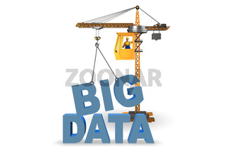 Big data concept with crane lifting letters