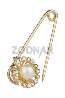 Golden brooch with pin, decorated with small diamonds and one big pearl, isolated on white background, clipping path included