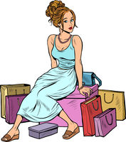 Woman shopping. Beautiful young buyer