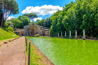 italian archaeological site Villa Adriana or Hadrians Villa in the Serapeo Canapeo or Canopus area pool and temple in Tivoli - Lazio - Italy