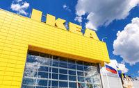 IKEA logo against a blue sky
