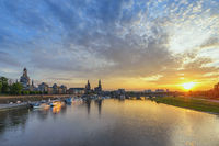 Dresden Germany, sunset city skyline at Elbe River