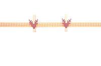 Hintergrund mit orange-weiss kariertem Band und Holzklammern - Background with orange-white checkered ribbon and pegs