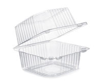Open empty transparent plastic food container