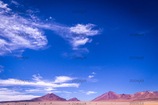 Volcanoes in the Altiplano in Southern Bolivia near the border to Chile
