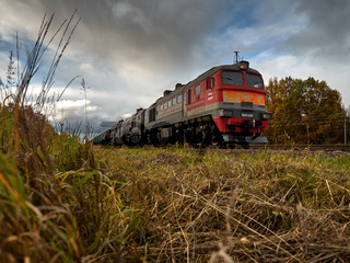 Editorial.A bright red train travels along the forest far from the settlements of Belarus.